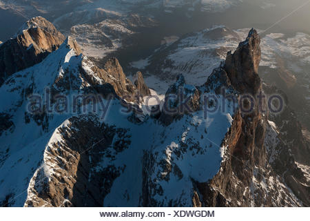 Cimon della Pala and Vezzana peak. Paneveggio natural park, Pale of San Martino groups, Dolomites. Trento province, Trentino Alto Adige region. Italy, Europe - Stock Photo