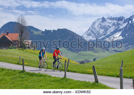 Bicycle tour, Appenzell area, canton, SG, St. Gallen, bicycle, bicycles, bike, riding a bicycle, Appenzell, Innerroden, Alpstein - Stock Photo