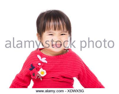 Asian little girl feeling excited - Stock Photo
