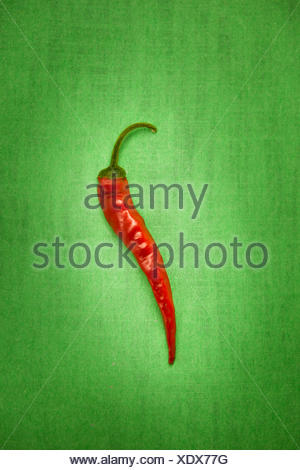 Red chili pepper on a green background - Stock Photo