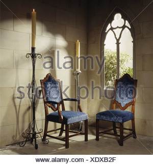... Blue Upholstered Gothic Style Chairs And Tall Wrought Iron Candlesticks  In Corner Of Stone