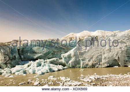 The Russells Glacier draining the Greenland icesheet inland from Kangerlussuaq on Greenlands west coast - Stock Photo