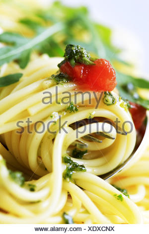 Macro shot of spaghetti twirled around a fork - Stock Photo