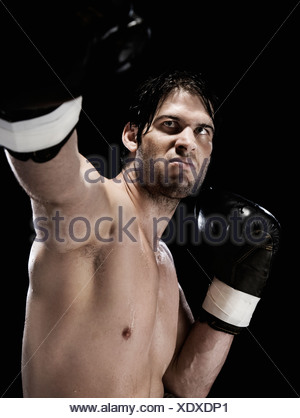 Close up of boxer boxing stance - Stock Photo