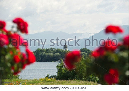The island Frauenchiemsee or Fraueninsel, from Gstadt, Chiemsee Lake, Chiemgau region, Bavaria - Stock Photo