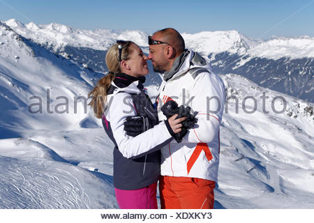 Lovers during winter holidays, Zillertal Skiing Area, near Hochfügen, Kaltenbach im Zillertal, Tyrol, Austria - Stock Photo