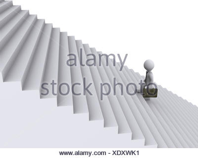 Businessman is climbing stairs - Stock Photo