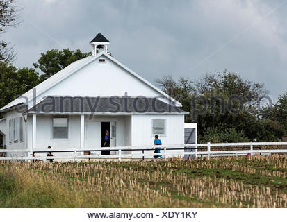Amish one room school house, Gordonville, Lancaster, Pennsylvania, USA - Stock Photo