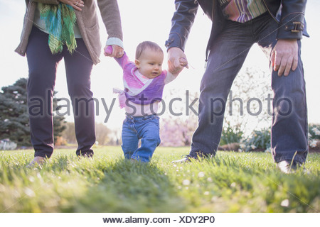 Grandparents holding granddaughter hands in park - Stock Photo