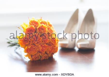 roses, nobody, orange, flower, plant, rose, ivory, wedding, marriage, marriage - Stock Photo
