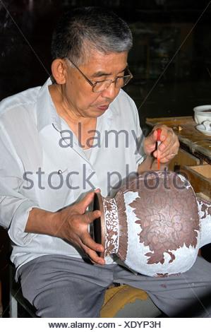 Traditional Cloisonné handicraft, China - Stock Photo