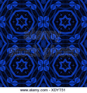 Abstract geometric seamless background. Ornate circles and diamond pattern with stars in dark blue shades on black. - Stock Photo