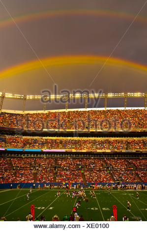 A rainbow over the stadium, Denver Broncos vs. Pittsburgh Steelers NFL football game, Invesco Field at Mile High (stadium), - Stock Photo