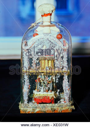 fine arts, folk art, impossible bottle with altar and preacher, glass, Swabia, 19th century, Werdenfels museum, Garmisch-Partenkirchen, Artist's Copyright has not to be cleared - Stock Photo