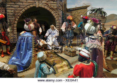 Nativity scene, pilgrimage church of Maria Puchheim in Puchheim, Attnang-Puchheim, Hausruckviertel area, Upper Austria, Austria - Stock Photo