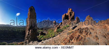 Roques de Garcia, Mount Teide, or Pico del Teide, Tenerife, Canary Islands, Spain, Europe - Stock Photo