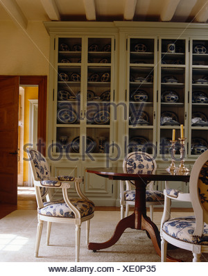 Upholstered Balloon Back Chairs And Antique Table In French Country Dining Room With Large Glass
