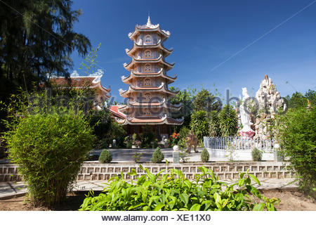 Dieu, An, Thap, Cham, Phan, Rang, Ninh, Rang, outside, pagoda, pagoda tower, place of interest, day, traditional, tower, Vietnam, - Stock Photo