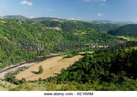 The Loire Gorges near Goudet, Haute Loire, Auvergne, France, Europe - Stock Photo