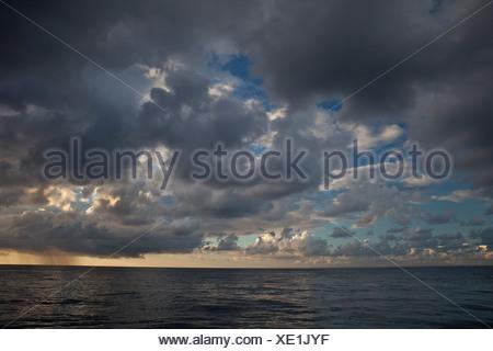 Clouds over Ocean, Silver Bank, Atlantic Ocean, Dominican Republic - Stock Photo
