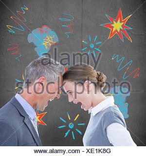 Composite image of business people yelling at each other over white background - Stock Photo