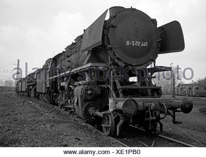 Gelsenkirchen, Germany, steam locomotives parked in BW Gelsenkirchen-Bismark - Stock Photo