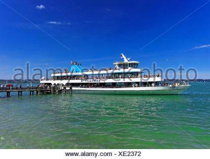 geography / travel, Germany, Bavaria, Lake Starnberg, Seeshaupt, ship of the line 'MS Seeshaupt', Additional-Rights-Clearance-Info-Not-Available - Stock Photo