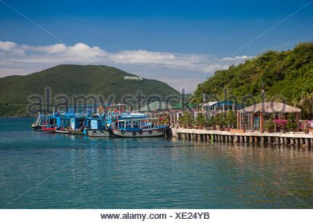 Bay, Vinpearl, island, South China Sea, sea, Asian, Asia, outside, mountains, mountainous, landscape, island, scenery, Nha, Trang - Stock Photo