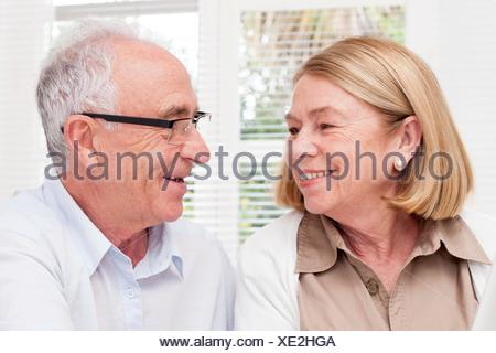 PROPERTY RELEASED. MODEL RELEASED. Senior couple, smiling. - Stock Photo