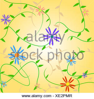 Image of a colorful seamless floral pattern. - Stock Photo
