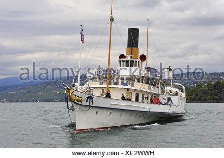 Belle Epoque paddle steamer La Suisse on Leman Lake, Lausanne, Canton of Vaud, Switzerland, Europe. - Stock Photo