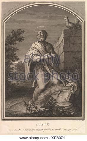 Saint Pierre. Artist: Jean-Baptiste Haussard (French, Paris 1679 or 1680-1749 Paris); Artist: After François Boucher (French, Paris 1703-1770 Paris); - Stock Photo