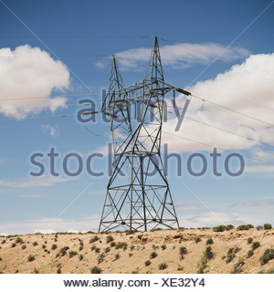 Tucson Arizona USA tall pylon carrying power lines in the desert - Stock Photo