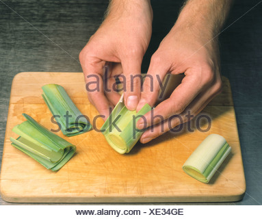 Slitting the leek - Stock Photo