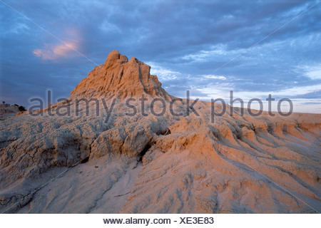 Rock formation of the walls of China at sunset, Mungo National Park, New South Wales, Australia - Stock Photo
