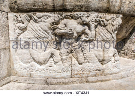 Mythological relief in the Sprudelhof of Bad Nauheim.This complex is recognized as the largest center of Art Nouveau in Germany - Stock Photo