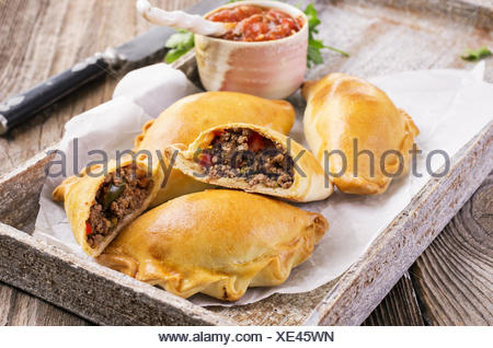 empanadas with minced meat - Stock Photo