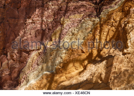 Soft rock wall in the Ochre Pits, source of Aborigines colouring pigments, natural dyes, West Macdonnell Ranges - Stock Photo