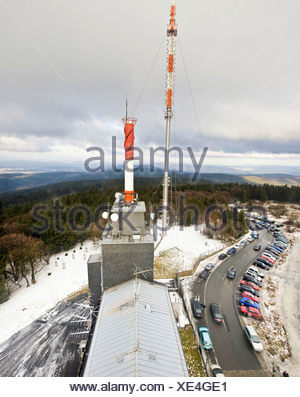 HR radio station's radio masts on Mt. Feldberg with a view of the Taunus region in Hesse, Germany, Europe - Stock Photo