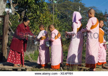 Young nuns begging, Inle Lake, Nyaungshwe, Shan State, Burma, Myanmar, Asia - Stock Photo