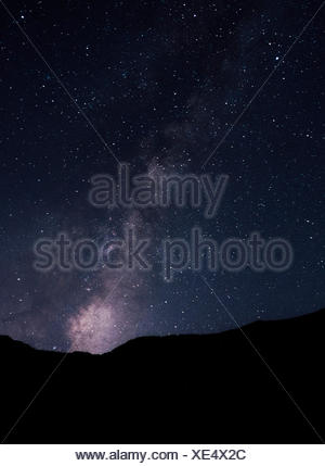 Night view of stars and milky way from Santa Cruz Island, California, USA - Stock Photo