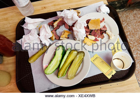 Remnants of deli sandwich on tray - Stock Photo
