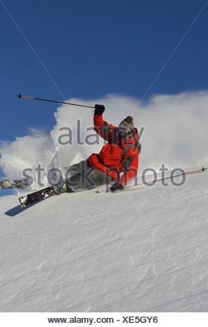 Skier turning off piste. - Stock Photo