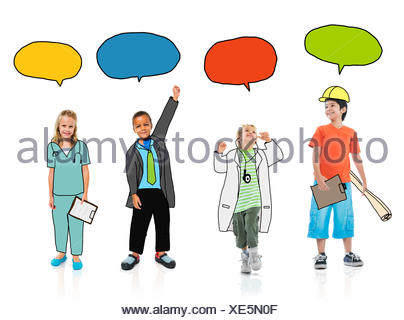 Group of Children in Dreams Job Uniform with Speech Bubbles - Stock Photo