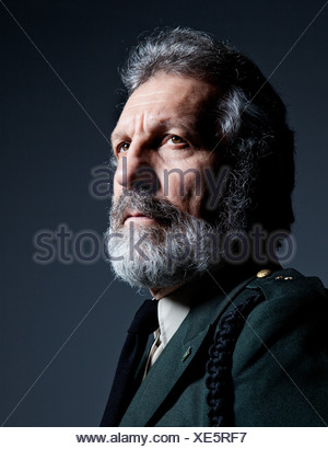 Senior man wearing military uniform - Stock Photo