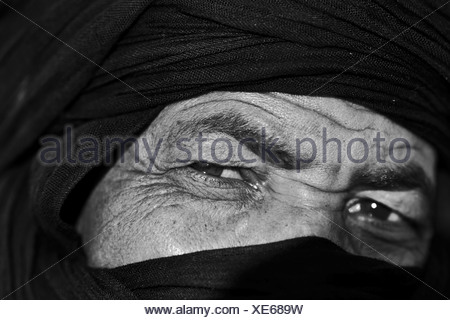 Close-up of face, man wearing the traditional tagelmust, Marrakesh, Morocco, Africa - Stock Photo