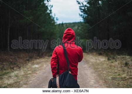 Rear View Of Person In Hooded Shirt Walking With Bag In Belanglo State Forest - Stock Photo