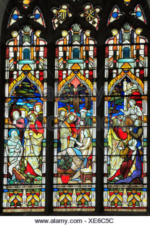 Miracles of Jesus, Say Unto Thee Arise, Jairus' daughter,Talitha Koum, Lazarus Come Forth, stained glass window by Heaton, Butler & Bayne, 1878, Swaff - Stock Photo
