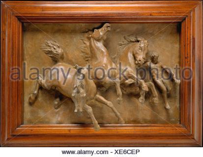 The Horses of Anahita or The Flight of Night. Artist: William Morris Hunt (American, Brattleboro, Vermont 1824-1879 Appledore, New Hampshire); Date: - Stock Photo
