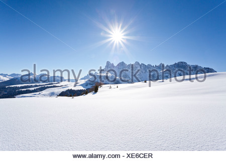 View during the ascent of Mt Cima Bocche, above Passo Valles, Pale di San Martino mountain group next to the Passo Rolle in the - Stock Photo
